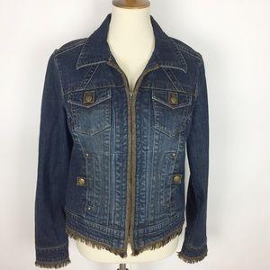 CAbi Front Zip Sweater Trim Jean Jacket